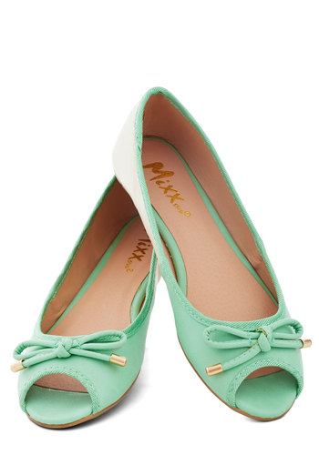 Errand Essentials Flat in Mint - Flat, Faux Leather, Solid, Bows, Pastel, Spring, Good, Peep Toe, Tan / Cream, Mint, Press Placement