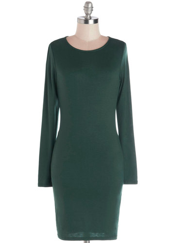 Wreath Your Potential Dress - Knit, Short, Jersey, Green, Solid, Casual, Bodycon / Bandage, Long Sleeve, Good, Scoop, Minimal