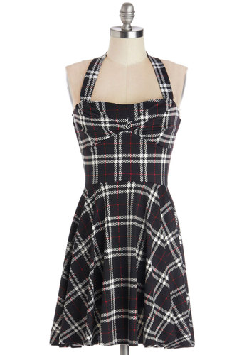 Just the Tour of Us Dress - Knit, Short, Black, Red, White, Plaid, Casual, A-line, Halter, Good