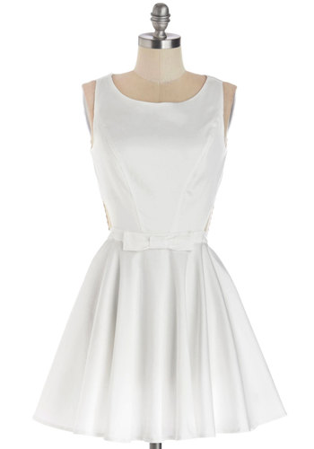 Classic Twist Dress in White - Cotton, Woven, Short, White, Solid, Bows, Buttons, Cutout, Party, Fit & Flare, Tank top (2 thick straps), Good, Scoop, Variation