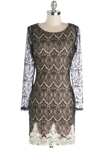 Embrace Your Fate Dress - Sheer, Knit, Mid-length, Black, Tan / Cream, Lace, Cocktail, Sheath / Shift, Long Sleeve, Good, Scoop, Holiday Party, Lace