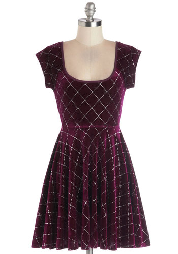 Pomegranate Cider Dress - Knit, Short, Red, Silver, Cutout, Party, Holiday Party, A-line, Cap Sleeves, Good, Scoop, Glitter