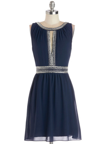 Return to Splendor Dress - Chiffon, Woven, Mid-length, Blue, Silver, Beads, Cutout, A-line, Sleeveless, Better, Scoop, Party, Prom