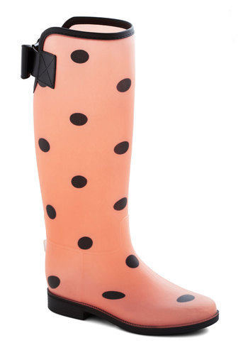 Splish-Flash Boot - Flat, Black, Polka Dots, Good, Pink, Casual, Spring, Statement