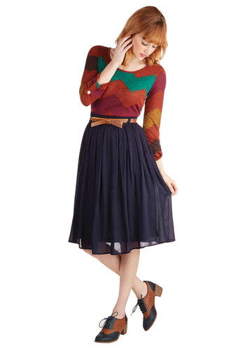 Porch Swing Dance Skirt - Long, Blue, Bows, Work, Solid, Belted, Blue, Midi