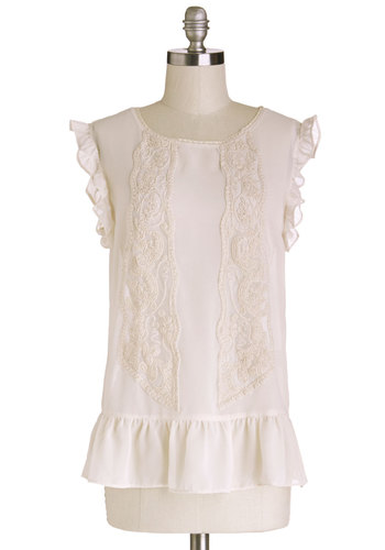 Macaroon of One's Own Top - Chiffon, Sheer, Woven, Mid-length, White, Solid, Lace, Ruffles, Sleeveless, Spring, White, Short Sleeve, Lace