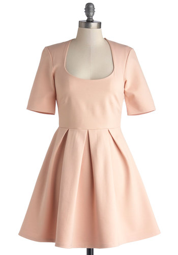 Simple to be Sweet Dress by Mink Pink - Pink, Solid, Pleats, Pastel, Minimal, A-line, Short Sleeves, Better, Scoop, Knit, Short, Daytime Party, Darling, Valentine's