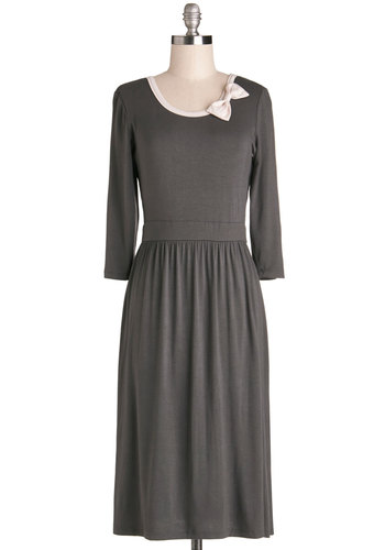 Everyday Enthusiasm Dress - Knit, Long, Jersey, Grey, Tan / Cream, Bows, Casual, A-line, 3/4 Sleeve, Good, Scoop
