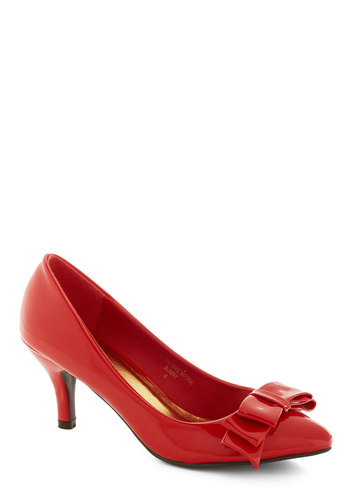As Fête Would Have It Heel in Ruby - Mid, Faux Leather, Red, Solid, Bows, Party, Girls Night Out, Holiday Party, Valentine's, Good, Variation