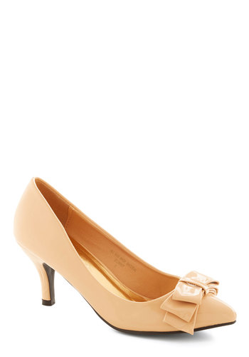 As Fete Would Have It Heel in Bisque - Mid, Faux Leather, Tan, Solid, Bows, Party, Holiday Party, Good, Variation