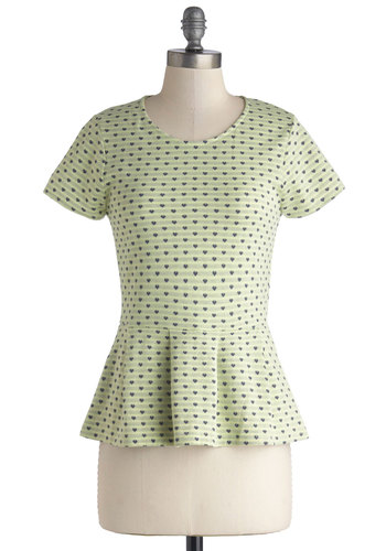 Quay Lime Pie Top - Knit, Mid-length, Green, Peplum, Short Sleeves, Green, Short Sleeve, Blue, Novelty Print, Work, Pastel, Valentine's, Spring