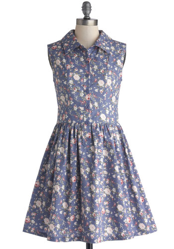 Stationery Shopkeeper Dress - Cotton, Woven, Mid-length, Blue, Multi, Floral, Buttons, Casual, Vintage Inspired, Shirt Dress, Sleeveless, Better, Collared