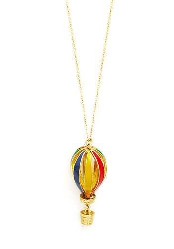 Haute Air Balloon Ride Necklace - Solid, Quirky, Stripes, Multi, Red, Green, Blue, Gold