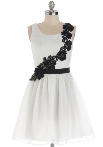 As We Rehearsed Dress - Chiffon, Woven, Short, White, Black, Embroidery, Wedding, Bride, A-line, Tank top (2 thick straps), Better, Scoop, Prom, Special Occasion, Top Rated, Homecoming