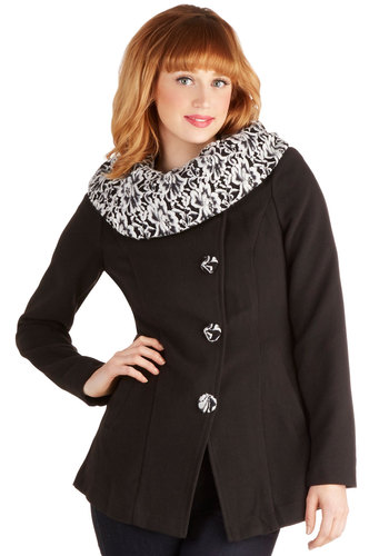 Wintry Wonderland Coat by Ryu - Mid-length, 3, Black, White, Solid, Floral, Buttons, Pockets, Long Sleeve, Winter