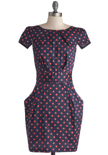 Tapioca Dokey Dress in Navy and Pink by Closet London - Cotton, Woven, Mid-length, Blue, Pink, Polka Dots, Pockets, Work, Shift, Cap Sleeves, Better, Boat, Exposed zipper, Variation