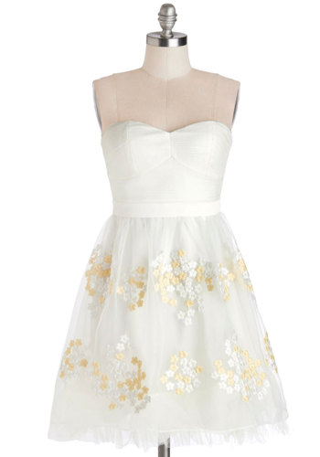 The Aerial Deal Dress - Knit, Woven, White, Gold, Embroidery, Wedding, Cocktail, Bride, A-line, Strapless, Better, Sweetheart, Ballerina / Tutu