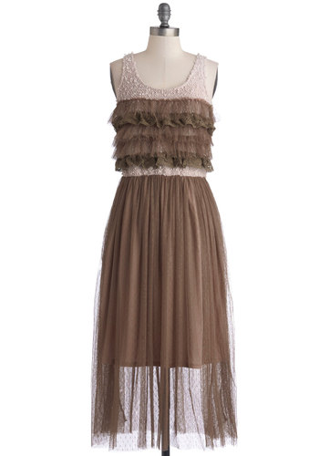 Folk Fest Dress - Sheer, Knit, Woven, Long, Brown, Tan / Cream, Ruffles, Tiered, Party, Tank top (2 thick straps), Good, Scoop, Lace, A-line, Lace, Boho