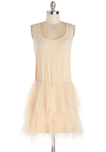 Pirouette Review Dress - Sheer, Knit, Mid-length, Solid, Party, Ballerina / Tutu, Tank top (2 thick straps), Good, Scoop, Cream, Fairytale, Pastel