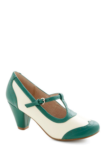 Gallery Opener Heel in Jade by Chelsea Crew - Mid, Faux Leather, Solid, Vintage Inspired, 20s, 30s, Better, T-Strap, Green, Tan / Cream, Variation