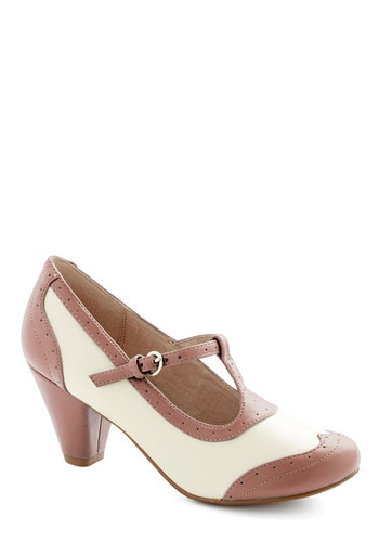Gallery Opener Heel in Rose by Chelsea Crew - Mid, Faux Leather, Pink, Solid, Vintage Inspired, 20s, 30s, Better, T-Strap, Tan / Cream, Variation