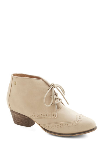 Kensington Markedness Bootie in Tan by Chelsea Crew - Low, Faux Leather, Tan, Solid, Menswear Inspired, Lace Up, Variation