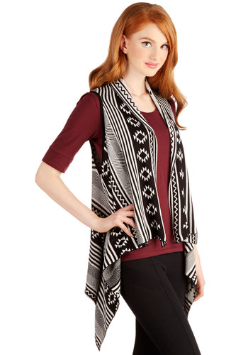Instant Adventure Cardigan - Knit, Short, Multi, Black, White, Print, Sleeveless, Better, Multi, Sleeveless, Rustic, Handkerchief, Boho, Festival