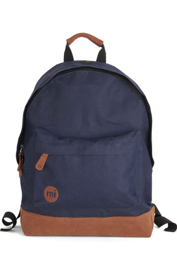 All Across Campus Backpack in Navy - Blue, Tan / Cream, Solid, Scholastic/Collegiate, Good, Woven, Variation, Travel