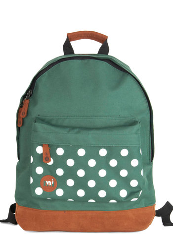 All Across Campus Backpack in Green Dots - Faux Leather, Woven, Green, Tan / Cream, White, Polka Dots, Travel, Scholastic/Collegiate