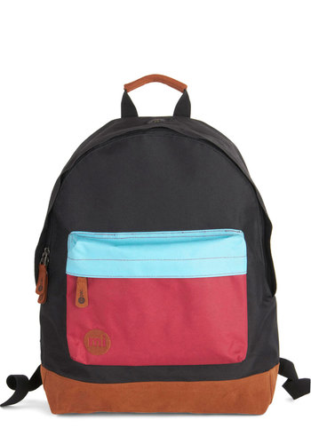 All Across Campus Backpack in Colorblock - Black, Red, Blue, Solid, Colorblocking, Scholastic/Collegiate, Good, Faux Leather, Woven