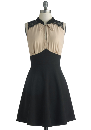 Linguists Lunch Dress - Chiffon, Sheer, Knit, Woven, Short, Tan / Cream, Black, Solid, Lace, Tie Neck, A-line, Sleeveless