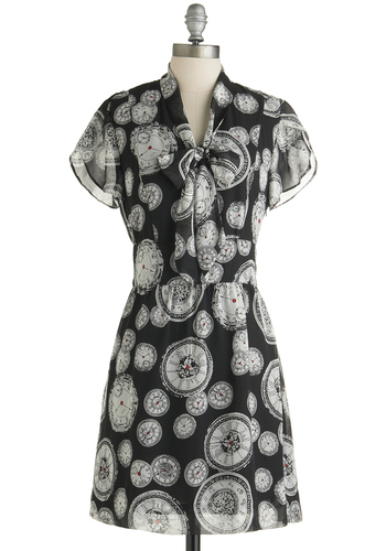 Cute O'Clock Dress by Tulle Clothing - Sheer, Woven, Mid-length, Multi, Tie Neck, Casual, A-line, Short Sleeves, Better, Novelty Print, Exclusives, Black