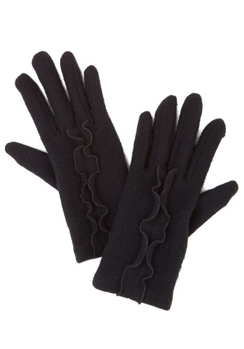 Touch of True Beauty Gloves in Black - Black, Solid, Ruffles, Better, Variation, Knit