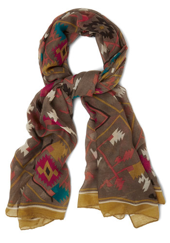 Meet Me in Montana Scarf - Multi, Print, Good, Woven, Brown, Casual