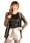 Darling Day Away Shorts in Gold - Short, Faux Leather, Good, Mid-Rise, Gold, Gold, Solid, Pockets, Scallops, Party, Girls Night Out, Holiday Party, Statement, Variation, Non-Denim, Short