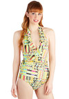 Early to Rise One Piece - Novelty Print, Travel, Neon, Knit, Daytime Party, Beach/Resort, Ruffles, Summer, Multi, Green, Pink, Black