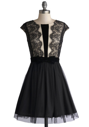 Festive, Laugh, Love Dress - Black, Tan / Cream, Bows, Lace, Party, A-line, Cap Sleeves, Good, Scoop, Knit, Sheer, Mid-length, Cocktail, Holiday Party