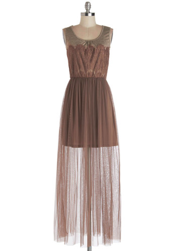 Bohemian Elegance Dress - Sheer, Knit, Long, Brown, Tan / Cream, Lace, Party, Maxi, Tank top (2 thick straps), Better, Scoop, Lace