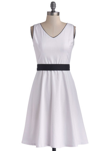 Freesia Your Mind Dress - Woven, Mid-length, White, Black, Trim, Belted, Party, A-line, Sleeveless, Good, V Neck, Minimal