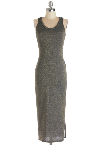 Plan on It Dress - Knit, Long, Grey, Gold, Glitter, Casual, Shift, Tank top (2 thick straps), Good, Scoop, Minimal, Maxi