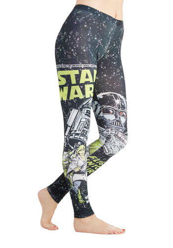 The Empire Strikes Laid-Back Leggings - Black, Multi, Novelty Print, Better, Knit, Nifty Nerd, Black