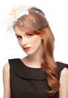 A Modern Fascinator in Ivory - Cream, Solid, Polka Dots, Feathers, Flower, Special Occasion, Wedding, Bridesmaid, Bride, Better, Knit, Woven