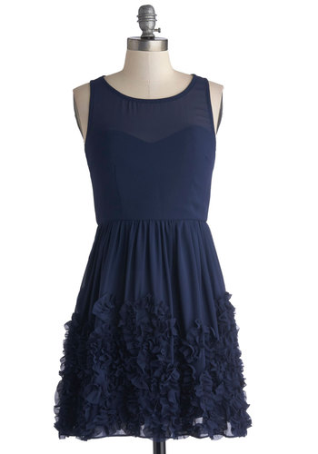 Crimpin' My Style Dress in Navy - Blue, Solid, Ruffles, Prom, Party, Bridesmaid, Tank top (2 thick straps), Wedding, Better, Chiffon, Sheer, Woven, Short, Variation, Scoop