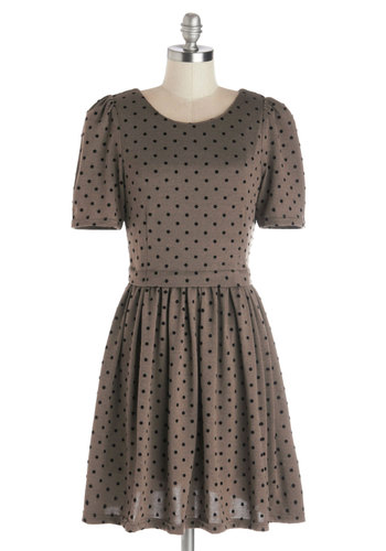 Spur of the Moment Dress by Kling - Knit, Mid-length, Black, Polka Dots, Casual, A-line, Short Sleeves, Better, Scoop, Tan