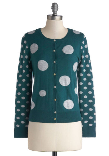 Sphere and There Cardigan - Green, Polka Dots, Long Sleeve, Better, Mid-length, Knit, White, Green, Long Sleeve