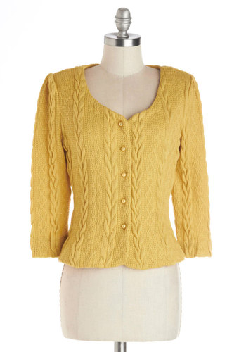 Honeycomb, I'm Home Cardigan in Gold - Knit, Short, Better, Yellow, Long Sleeve, Yellow, Solid, Work, Vintage Inspired, Scholastic/Collegiate, Buttons, Knitted, Daytime Party, 40s, 50s, 60s, Long Sleeve