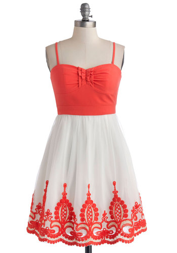 Coral Arrangement Dress - Chiffon, Woven, Short, White, Coral, Embroidery, Ruffles, Daytime Party, A-line, Spaghetti Straps, Better, Sweetheart