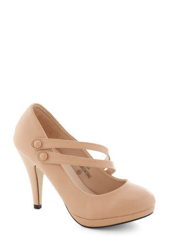A New Spin Heel in Blush - High, Faux Leather, Tan, Solid, Buttons, Prom, Wedding, Party, Cocktail, Girls Night Out, Holiday Party, Bridesmaid, Strappy, Good, Pastel, Variation