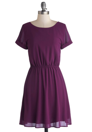 The Best is Yet to Plum Dress - Chiffon, Woven, Mid-length, Purple, Solid, Casual, Minimal, A-line, Short Sleeves, Scoop
