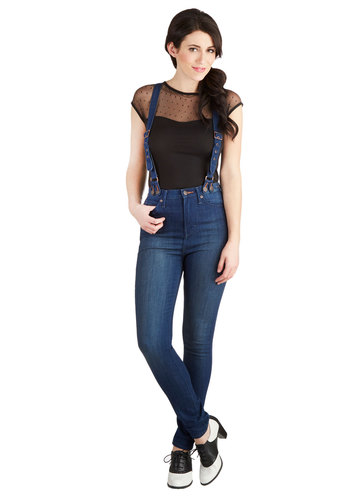 Conduct Yourself Jeans by Dittos - Blue, Solid, Casual, Suspender, Good, Denim, Woven, Pockets, Skinny, High Rise, Full length, Blue, Medium Wash, Denim